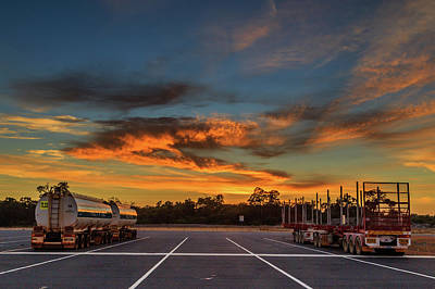 Photograph - Trucking Sunrise by Robert Caddy