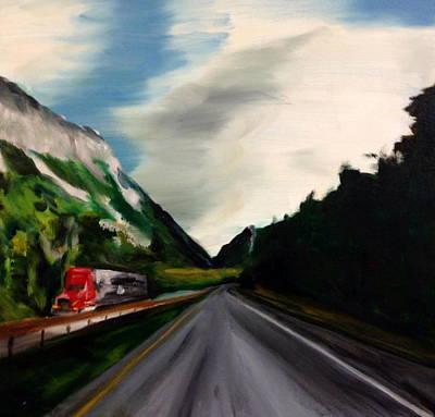 Franconia Notch Painting - Trucking The Notch by Dave Holmander-Bradford