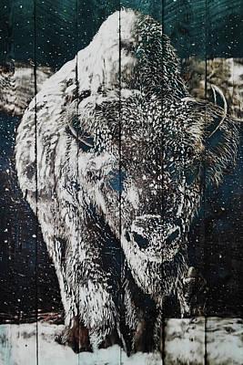 Buffalo Painting - Trudge by Mark Mahorney