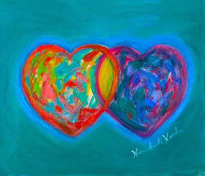 Painting - True Blue Hearts by Kendall Kessler