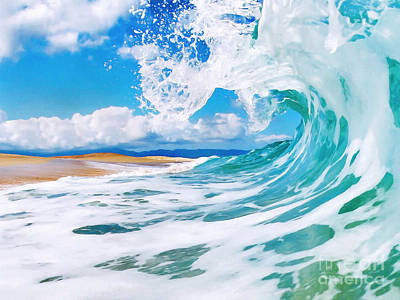 Waves Painting - True Blue by Paul Topp