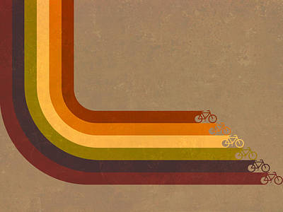 Retro Digital Art - True Colors Cyclery Bikes For All Types by Victoria Collins