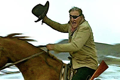 Western Art Mixed Media - True Grit, Rooster Cogburn, Jumping 4 Rails, John Wayne, Well, Come See A Fat Old Man Some Time  by Thomas Pollart