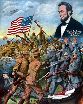 Abraham Lincoln Painting - True Sons Of Freedom -- Ww1 Propaganda by War Is Hell Store