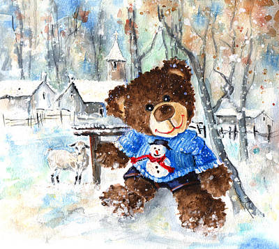 Truffle Mcfurry And His Snowman Jumper Art Print by Miki De Goodaboom