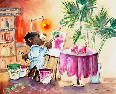 Hippopotamus Drawing - Truffle Mcfurry Learning Painiting by Miki De Goodaboom