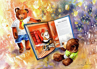 Hall Of Fame Drawing - Truffle Mcfurry Reading The Teddy Bear Hall Of Fame by Miki De Goodaboom