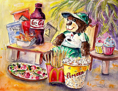 Us Open Painting - Truffle Mcfurry Warching At Us Golf Open 2015 by Miki De Goodaboom