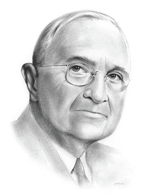 Graphite Drawing - Truman by Greg Joens