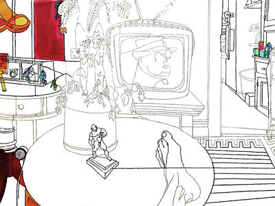 Drawing - Truman On Tv by Stan  Magnan