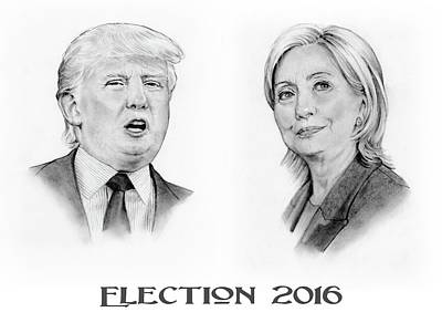 Hillary Clinton Drawing - Trump And Hillary Pencil Portraits Election 2016 by Joyce Geleynse