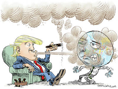 Drawing - Trump And The World On Climate by Daryl Cagle