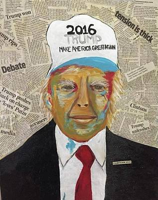 Decoupage Mixed Media - Trump Campaign by Susan McConaghy