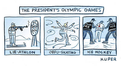 Drawing - Trump Olympic Games by Peter Kuper