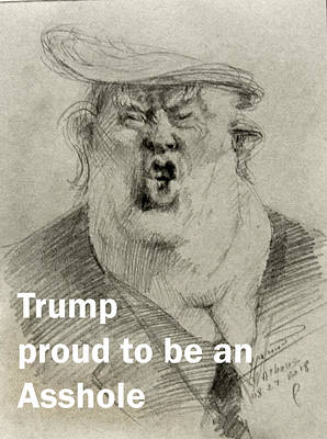 Drawing - Trump The Imbecile by Ylli Haruni