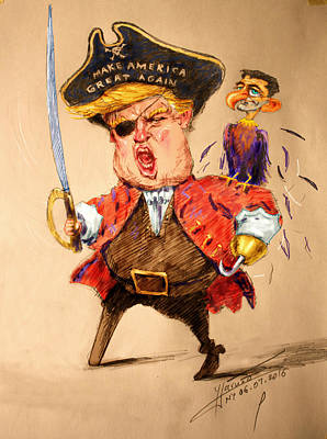 Trump, The Short Fingers Pirate With Ryan, The Bird Art Print by Ylli Haruni