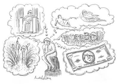 Drawing - Trump Thinker by Mort Gerberg