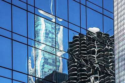 Pyrography - Trump Tower And Marina Tower Reflections On Blue Glass Windows by Judith Barath