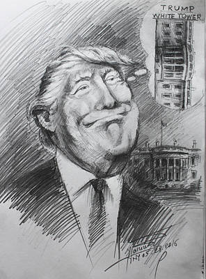 Cartoon Drawing - Trump White Tower  by Ylli Haruni
