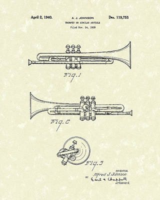 Music Drawing - Trumpet 1940 Patent Art by Prior Art Design