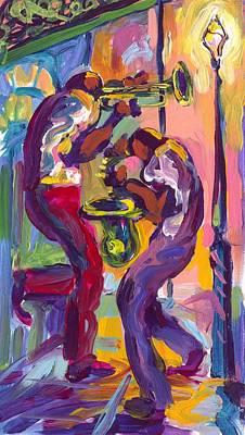 Trumpet And Saxophone Print by Saundra Bolen Samuel