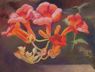 Painting - Trumpet Flowers by Susan McNally