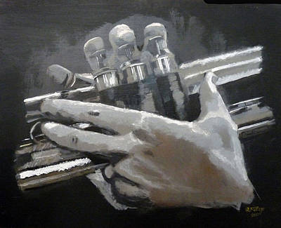 Painting - Trumpet Hands by Richard Le Page