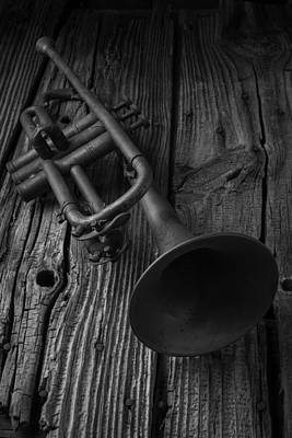 Black And White Symbolism Photograph - Trumpet In Black And White by Garry Gay