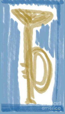 Digital Art - Trumpet In Blue by Ray Hunt