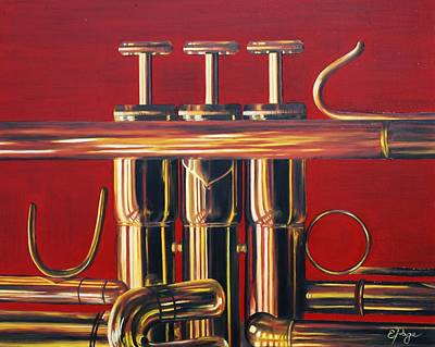 Trumpet In Red Art Print by Emily Page