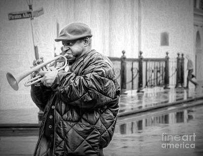 Photograph - Trumpet In The Rain 2 - Nola by Kathleen K Parker