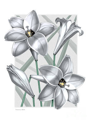Blooming Digital Art - Trumpet Lilies by David Azzarello