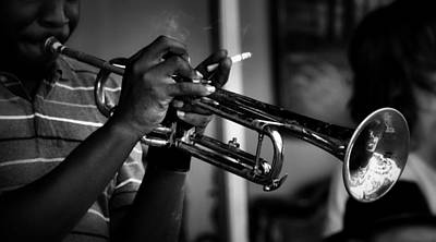 Photograph - Trumpet Man In Black And White by Nadalyn Larsen