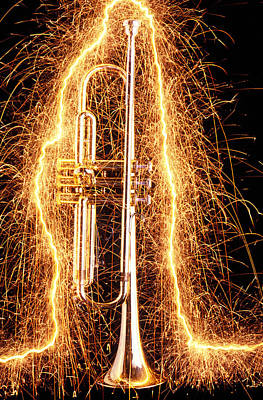 Music Wall Art - Photograph - Trumpet Outlined With Sparks by Garry Gay