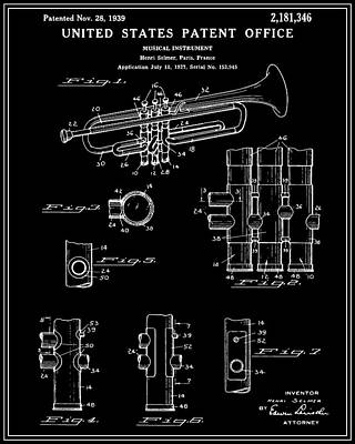 Trumpet Digital Art - Trumpet Patent - Black by Finlay McNevin
