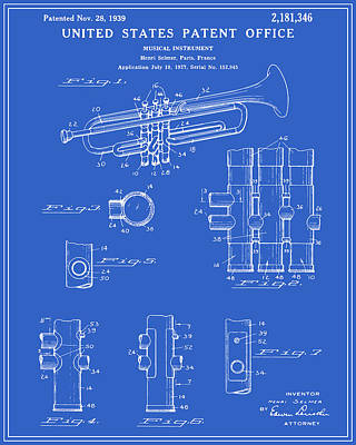 Trumpet Digital Art - Trumpet Patent - Blueprint by Finlay McNevin