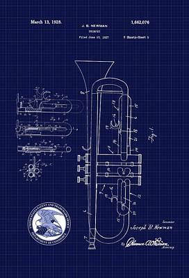 Digital Art - Trumpet Patent Drawing by Carlos Diaz