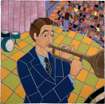 Interior Scene Mixed Media - Trumpet Player by Jonathan Mandell