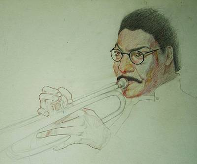Trumpet Player Drawing - Trumpet Player by Nigel Wynter