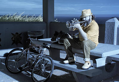 Photograph - Trumpet Player Playing The Blues Fermin Point Los Angeles In Infrared by Randall Nyhof
