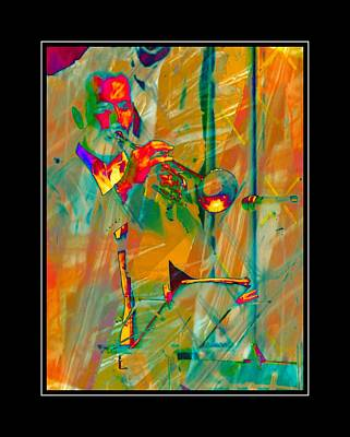 Trumpet Player With Black Border Art Print by Dorothy Berry-Lound