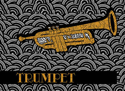 Cornet Painting - Trumpet Tunes by Cecely Bloom