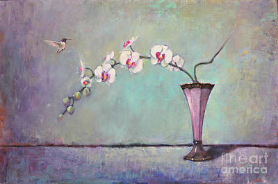 Floral Still Life Painting - Trumpet Vase And Orchid  by Lori  McNee