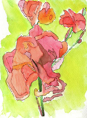 Painting - Trumpet Vine Blossom by Maura Satchell