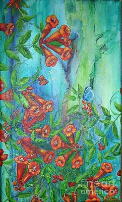 Trumpet Vine With Butterfly Art Print by Sheri Hubbard