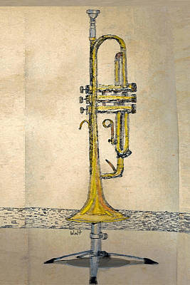 Print featuring the digital art Trumpet by Walter Chamberlain