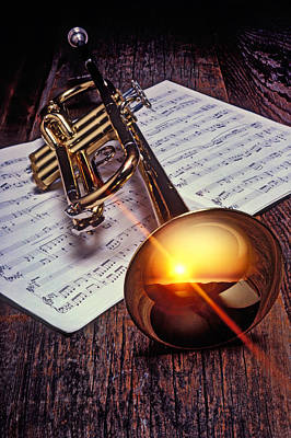 Sheet Music Photograph - Trumpet With Sunset by Garry Gay