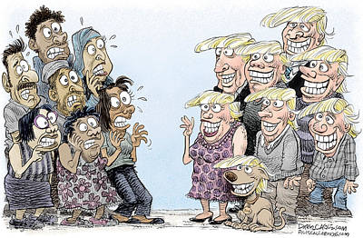 Drawing - Trumpettes Horror by Daryl Cagle