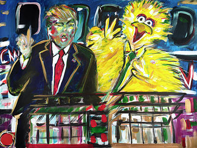 Hillary Clinton Painting - Trump's Flippin' The Bird by Rhe De Ville