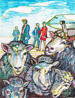 Zodiac Symbols Mixed Media -  Trump,sheep And Dolly Clone by Susan Brown    Slizys art signature name